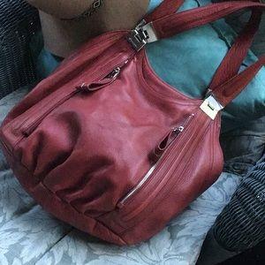 Gorgeous b.Makowsky red leather hobo bag